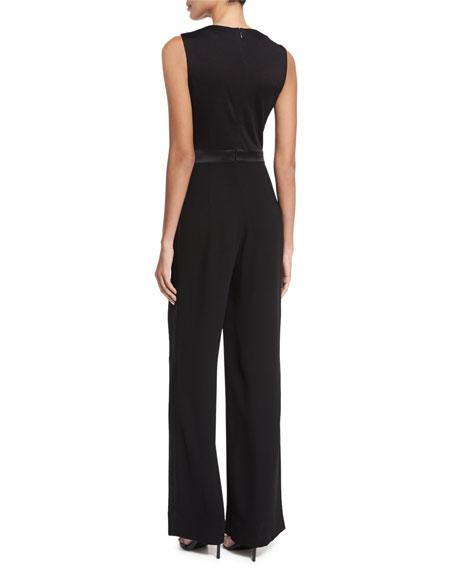 Kyara Plunge-Neck Tuxedo Jumpsuit, Black