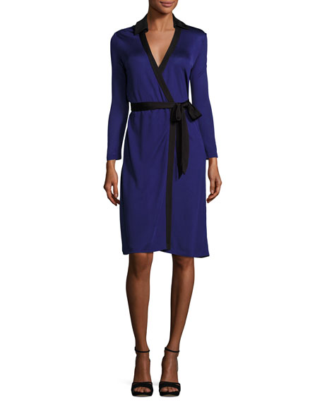 Diane von Furstenberg New Jeanne Wrap Dress w/Contrast