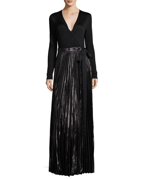 Heavyn Metallic-Skirt Maxi Wrap Dress, Black