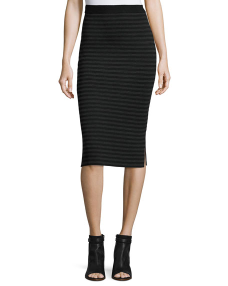 Eileen Fisher Striped Knit Pencil Skirt