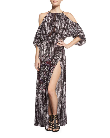 South Pacific Cold-Shoulder Coverup Maxi Dress, Multi