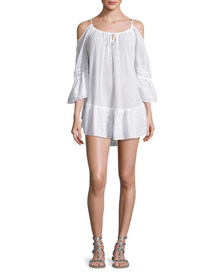 Ale by Alessandra Ibiza Cold-Shoulder Gauze Coverup Dress,