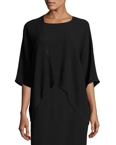 Accordion Silk V-Neck Jacket, Black
