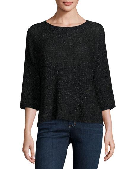 Eileen Fisher 3/4-Sleeve Shimmer Wool-Blend Top, Black