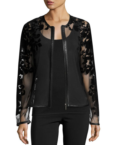Sheer Leather-Trim Jacket w/ Baroque Velvet Overlay, Black