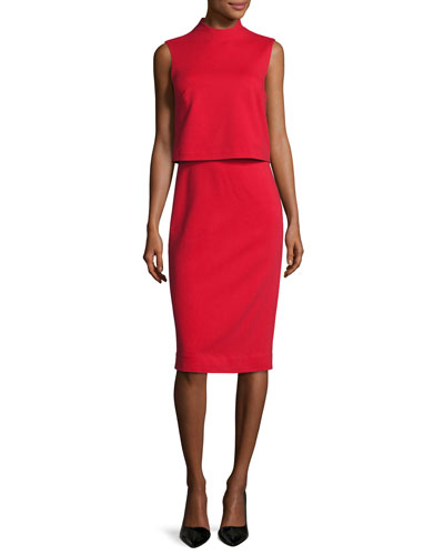 Tali Popover Sleeveless Sheath Dress, Scandal Red