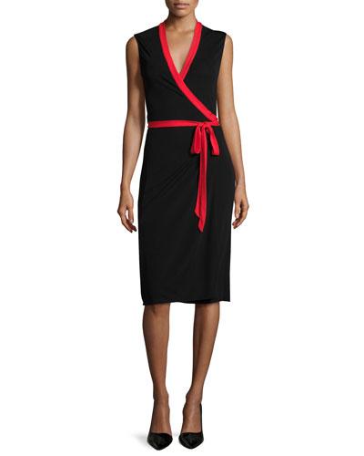Valena Sleeveless Jersey Wrap Dress, Black/Scandal Red