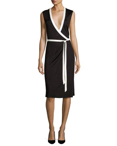 Valena Sleeveless Jersey Wrap Dress, Black/Ivory