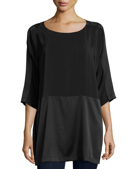Eileen Fisher Silk Crepe de Chine Box Top