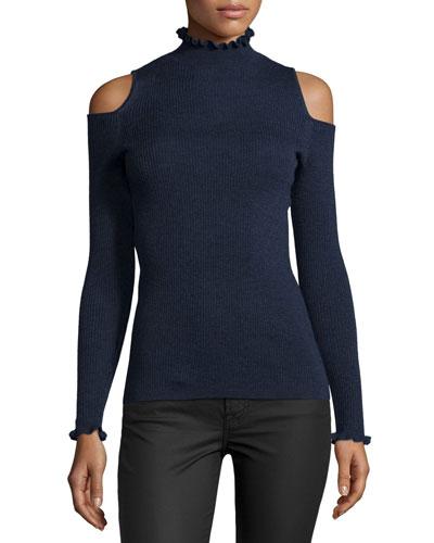 Cold-Shoulder Ribbed Merino Sweater, Blue/Black