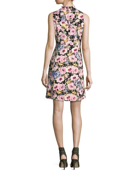 Lavinia Floral-Print Sleeveless Dress, Black/Camellia