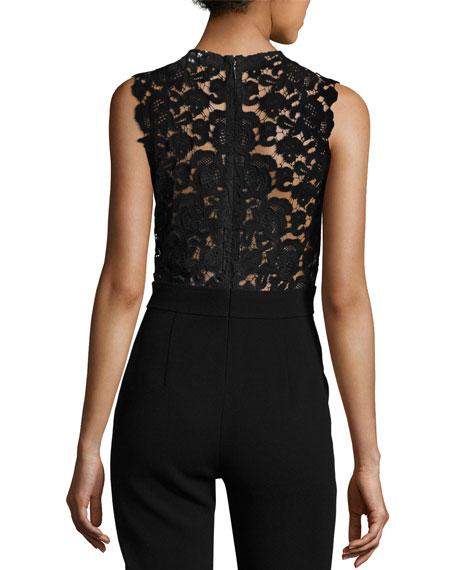 Crepe Sleeveless Lace-Back Jumpsuit, Black