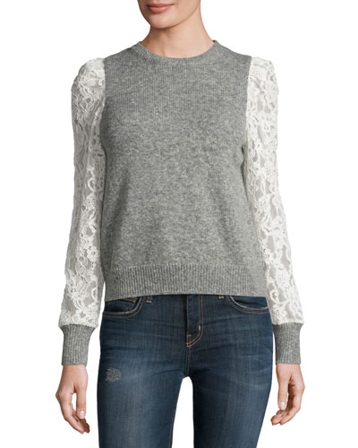 Lace-Sleeve Pullover, Heather Gray