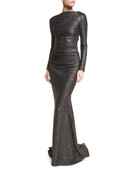 Dorango Long-Sleeve Boat-Neck Sequined Gown, Dark Silver
