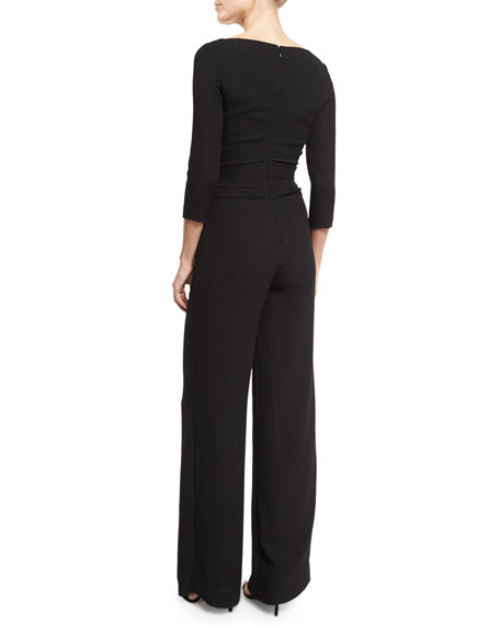 Hilden 3/4-Sleeve V-Neck Ruched Jumpsuit, Black