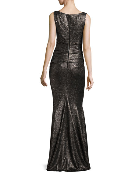 talbot runhof bossa sequined ruched sleeveless v neck gown. Black Bedroom Furniture Sets. Home Design Ideas