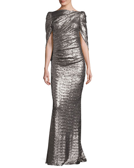 Konica Sequined Cape-Back Gown, Stone