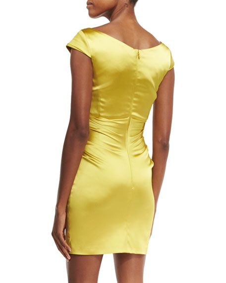 Kortney Cap-Sleeve Ruched Cocktail Dress, Mimosa