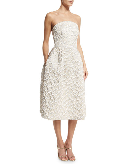 Lorbeer Strapless Cloqué Cocktail Dress, Cream