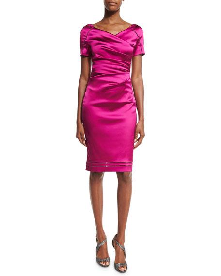 """Moira"" Short-Sleeve V-Neck Ruched Cocktail Dress, Razzmatazz"