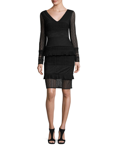 Mollie Tiered Mixed-Lace Cocktail Dress, Black