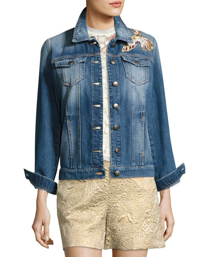 Hummingbird-Patch Denim Jacket