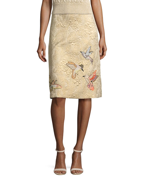 REDValentino Hummingbird-Embroidered Brocade A-Line Skirt, Oro