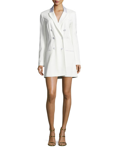 Carlyle Double-Breasted Mini Blazer Dress, Off White