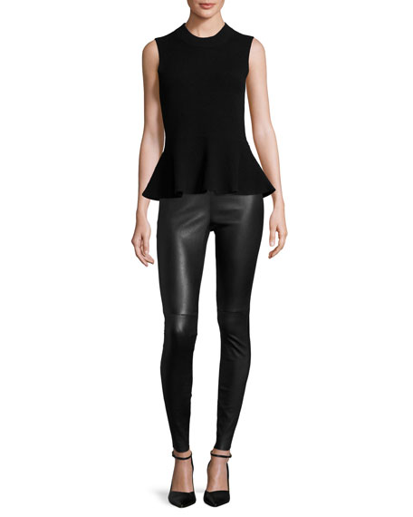 Billie Sleeveless Cashmere Peplum Top, Solid Black
