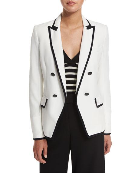Veronica Beard Harriet Cutaway Contrast Jacket, Off White
