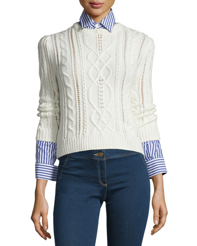 Surrey Cable-Knit Pullover Sweater, Cream