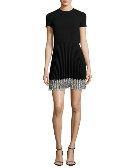 REDValentino Short-Sleeve Lace-Trim Pleated A-Line Dress, Nero