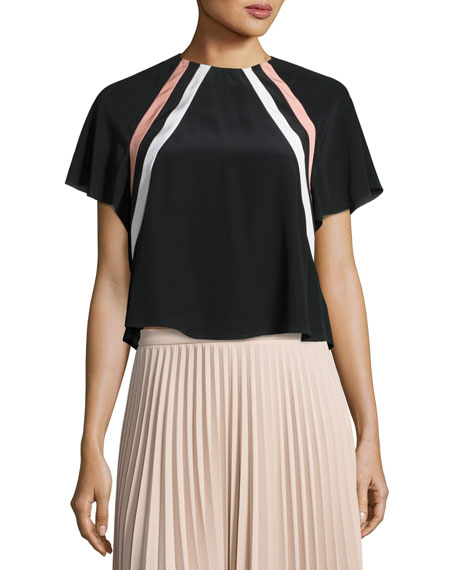 Raglan-Sleeve Striped Silk Crop Top, Nero/Cipria/Panna