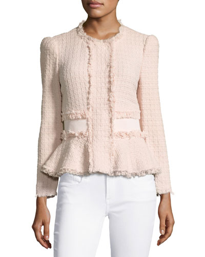 Tweed Fringe-Trim Peplum Jacket, Ballerina Pink