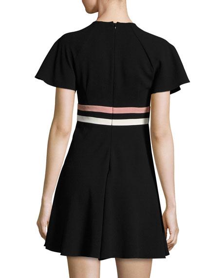 Short-Sleeve Striped Crepe Dress, Nero/Cipria/Panna