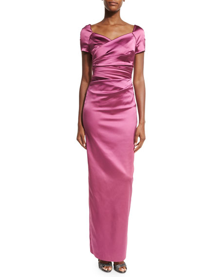 Morna Cap-Sleeve Sweetheart-Neck Ruched Gown, Cherry Blossom