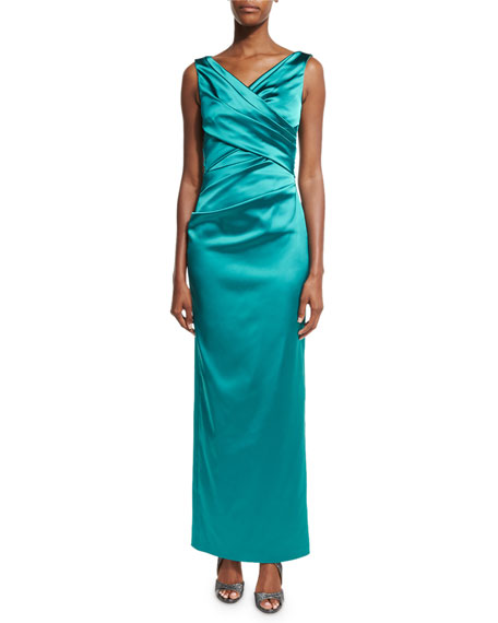 Movie Sleeveless V-Neck Ruched Column Gown, Bay