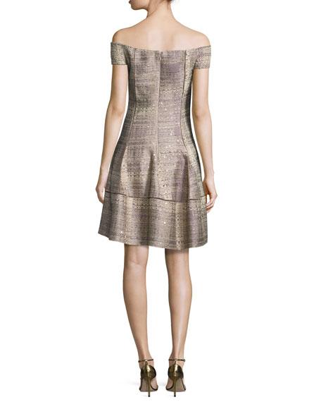 Off-the-Shoulder Tweed A-Line Dress, Copper