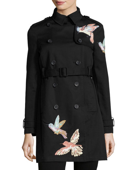Double-Breasted Trench Coat w/ Embroidered Hummingbirds, Nero