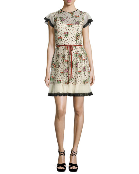 RED Valentino Blooming Garden Short-Sleeve Tulle Dress