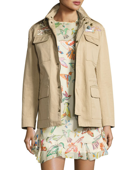 REDValentino Embroidered Military Jacket & Flutter-Sleeve