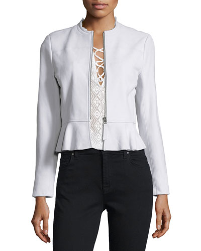 Lambskin Leather Peplum Jacket, Pale Glacier