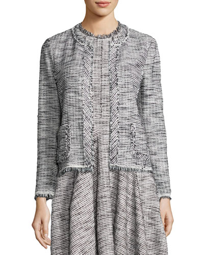 Fringe-Trim Boucle Tweed Jacket, Black/Chalk