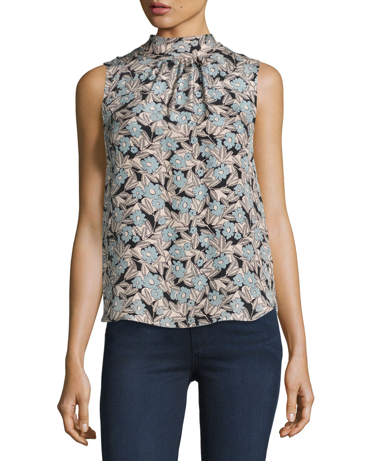Rebecca Taylor Womens Sleeveless Mock Neck Top