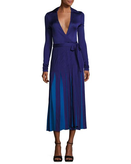 Diane von Furstenberg Stevie Colorblock Midi Wrap Dress,
