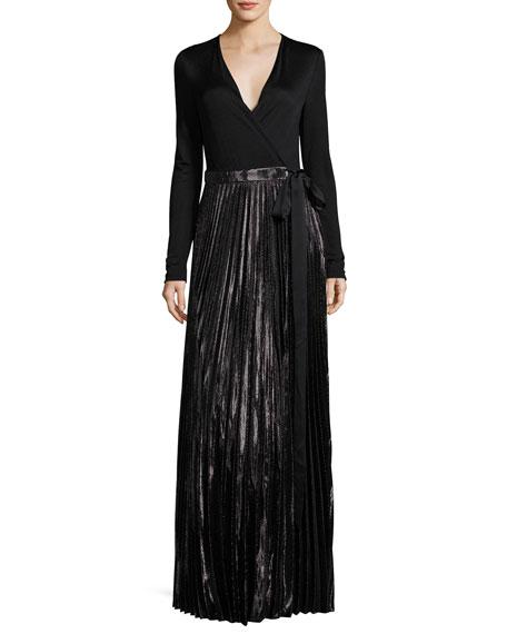 Diane von Furstenberg Heavyn Metallic-Skirt Maxi Wrap Dress,