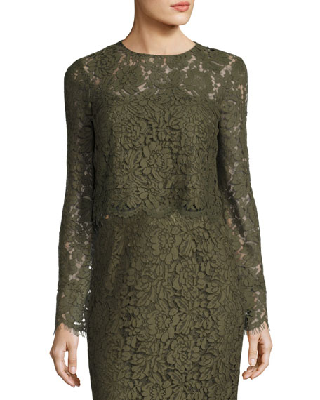 Diane von Furstenberg Yeva Long-Sleeve Lace Top, Olive