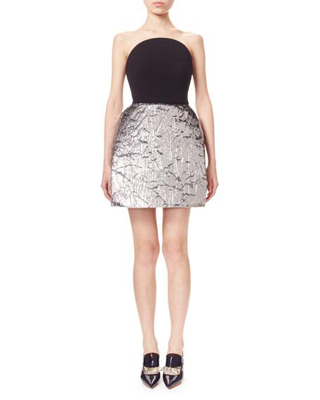 Delpozo Strapless Metallic Velvet Combo Dress, Silver