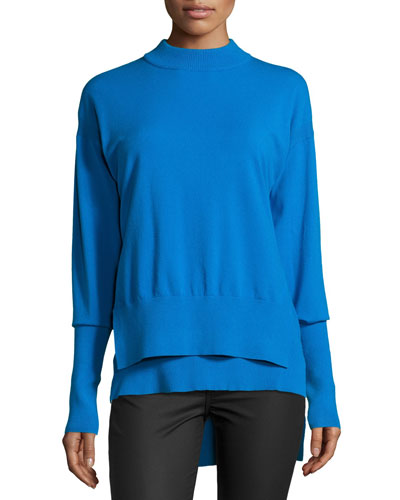 Long-Sleeve Tiered Pullover Sweater, Cerulean