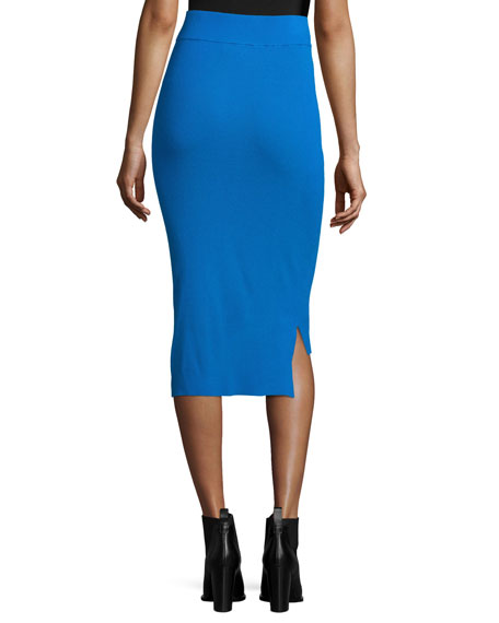 Ribbed High-Waist Pencil Skirt, Cerulean